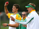Allan Donald has a word with Marchant de Lange during a training session, Dunedin, March 6, 2012