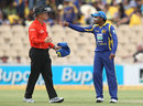 Mahela Jayawardene has a heated exchange with umpire Bruce Oxenford, Australia v Sri Lanka, Commonwealth Bank Series, 2nd final, Adelaide, March 6, 2012