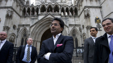Lalit Modi outside the High Court in London