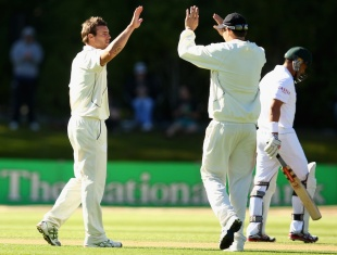 Doug Bracewell celebrates Jacques Rudolph's wicket, New Zealand v South Africa, 1st Test, Dunedin, 2nd day, March 8, 2012