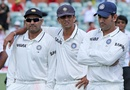 Rahul Dravid with MS Dhoni and Virender Sehwag, 4th Test, Adelaide, 5th day, January 28, 2012