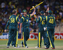 Clint McKay takes a stump and a ball as a souvenir, Australia v Sri Lanka, CB Series, 3rd final, Adelaide, March 8, 2012