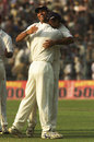 VVS Laxman and Rahul Dravid celebrate India's win, India v Australia, 2nd Test, Kolkata, 4th day, March 15, 2001