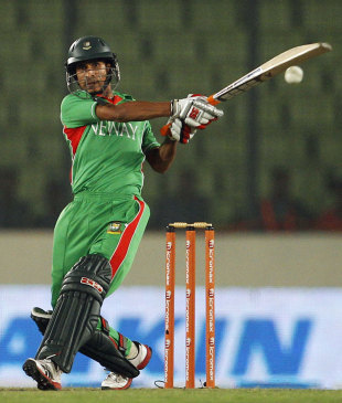 Nasir Hossain plays a cross-batted shot, Bangladesh v Pakistan, Asia Cup, Mirpur, March 11, 2012