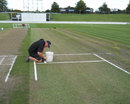 A green pitch at Seddon Park, two days before the New Zealand-South Africa Test, Hamilton, March 13, 2012