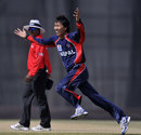 Shakti Gauchan celebrates his hat-trick against Denmark, Denmark v Nepal, ICC World Twenty20 Qualifiers, Dubai, March 14, 2012