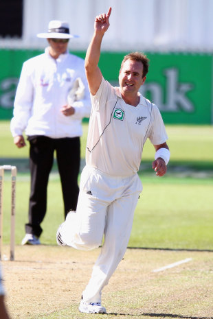 Mark Gillespie celebrates a wicket, New Zealand v South Africa, 2nd Test, Hamilton, 2nd day, March 16, 2012