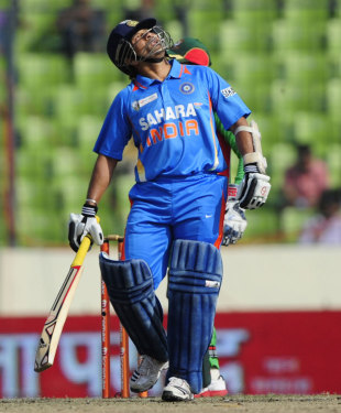 Sachin Tendulkar reacts to reaching his half-century, Bangladesh v India, Asia Cup, Mirpur, March 16, 2012