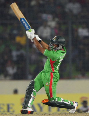 Shakib Al Hasan smashes one to the leg side, Bangladesh v India, Asia Cup, Mirpur, March 16, 2012