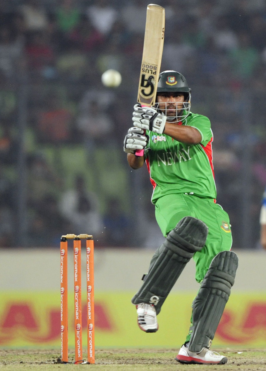 Tamim Iqbal pulls during his 70, Bangladesh v India, Asia Cup, Mirpur, March 16, 2012
