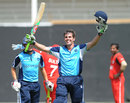 Calum MacLeod acknowledges his century against Oman