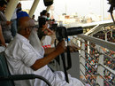 Veteran Bangladeshi photographer Al Haj Mahammad Zahirul Haq watches Sachin Tendulkar reach his 100th ton, Bangladesh v India, Asia Cup, Mirpur, March 16, 2012