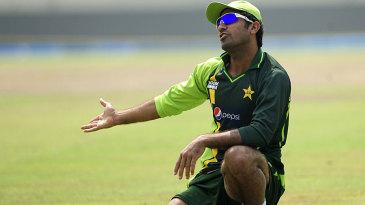 Wahab Riaz gestures during practice