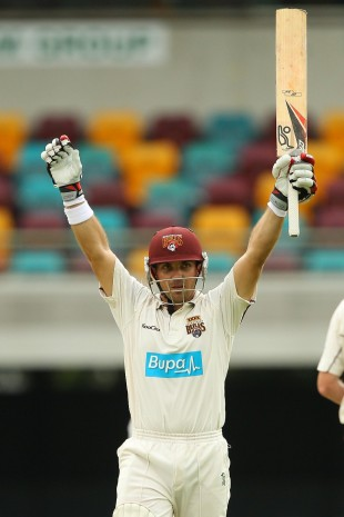 Chris Hartley celebrates his century, Queensland v Tasmania, Sheffield Shield final, 3rd day, March 18, 2012