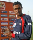 Paras Khadka with his Man-of-the-Match award, Bermuda v Nepal, ICC World Twenty20 Qualifier, Abu Dhabi, March 18, 2012