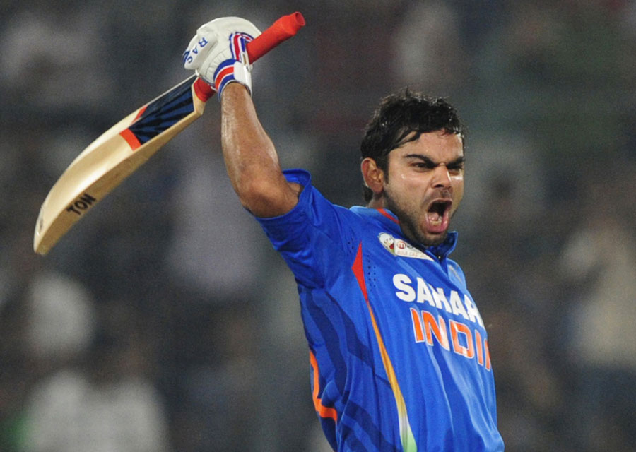 Virat Kohli celebrates his century