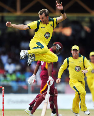 Brett Lee clicks his heels after taking a wicket with the first ball of the innings, West Indies v Australia, 2nd ODI, St Vincent, March 18, 2012