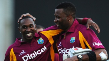 Kieron Pollard and Dwayne Bravo celebrate the victory