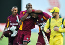 Carlton Baugh, Dwayne Bravo and Kieron Pollard celebrate victory, West Indies v Australia, 2nd ODI, St Vincent, March 18, 2012