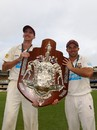 Steve Magoffin and Chris Hartley with the Sheffield Shield, Queensland v Tasmania, Sheffield Shield final, 4th day, March 19, 2012