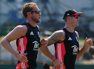 Stuart Broad and Kevin Pietersen run during a training session, SSC, Colombo, March 19, 2012