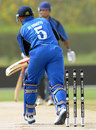 Michael Di Venuto is bowled by Matthew Parker, Italy v Scotland, ICC World Twenty20 Qualifier, Dubai, March 19, 2012