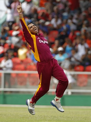 Sunil Narine celebrates Matthew Wade's wicket, West Indies v Australia, 3rd ODI, St Vincent, March 20, 2012