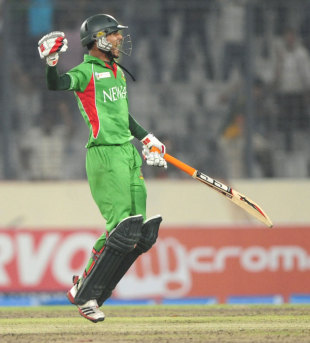 Nasir Hossain jumps in celebration of Bangladesh's win