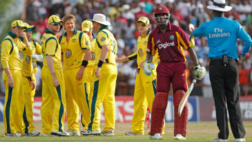 Shane Watson discovers that his dismissal of Andre Russell came off a no-ball
