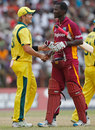Shane Watson and Darren Sammy shake hands after the game is tied, West Indies v Australia, 3rd ODI, St Vincent, March 20, 2012