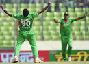 Nazmul Hossain celebrates an early wicket, Bangladesh v Pakistan, Asia Cup. final, Mirpur, March 22, 2012