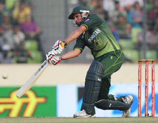 Shahid Afridi attempts a big shot, Bangladesh v Pakistan, Asia Cup final, Mirpur, March 22, 2012