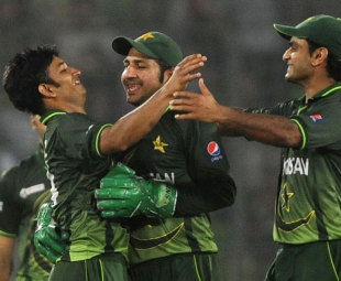 Aizaz Cheema (above, left) and Mahmudullah collided in the final over of the Asia Cup final