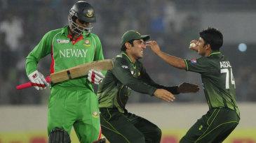 Misbah-ul-Haq and Aizaz Cheema celebrate Pakistan's win