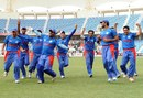 Afghanistan's players celebrate their qualification for the ICC World Twenty20