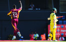 Andre Russell celebrates his dismissal of George Bailey