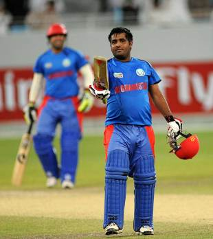 Mohammad Shahzad celebrates his half-century, Afghanistan v Ireland, World Twenty20 Qualifier final, Dubai, March 24, 2012