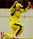 An elated Michael Hussey takes the final catch to seal the victory, West Indies v Australia, 5th ODI, St Lucia, March 25, 2012