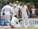 England celebrate Thilan Samaraweera's run-out