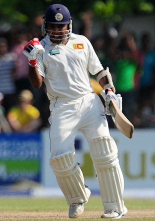 Mahela Jayawardene celebrates a well-fought hundred, Sri Lanka v England, 1st Test, Galle, 1st day, March 26, 2012