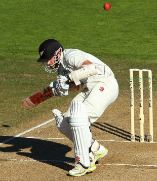 Kane Williamson ducks under a bouncer, New Zealand v South Africa, 3rd Test, Wellington, 5th day, March 27, 2012