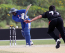 Orlano Baker is clean bowled by Aizaz Khan during the ICC World Twenty20 Qualifier 11th Place Play-off match between USA and Hong Kong played at the ICC Global Cricket Academy ground in Dubai on 23rd March 2012