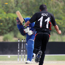 Aizaz Khan's brilliant spell of 5-25 included the wicket of Elmore Hutchinson during the ICC World Twenty20 Qualifier 11th Place Play-off match between Hong Kong and USA played at the ICC Global Cricket Academy ground in Dubai on 23rd March 2012