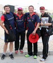 Hong Kong's Coaching/Management team in Dubai for the ICC World Twenty20 Qualifier - Lou Vincent, Jawaid Iqbal, Charlie Burke and Travis Pittman