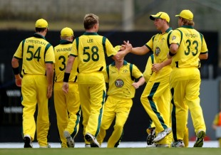 Brett Lee celebrates an early wicket, West Indies v Australia, 1st Twenty20, St Lucia