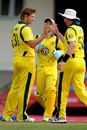 Shane Watson celebrates having Johnson Charles lbw