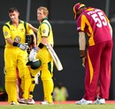 Michael Hussey and George Bailey after securing the win