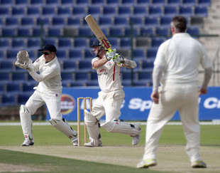 Paul Horton plays a shot on the off side, MCC v Lancashire, Champion County Match, Abu Dhabi, 3rd day, March 29, 2012
