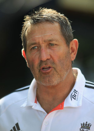 Graham Gooch speaks at an England press conference