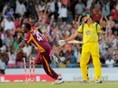 Dwayne Bravo celebrates after bowling Clint McKay, West Indies v Australia, 2nd Twenty20, Bridgetown, March 30, 2012